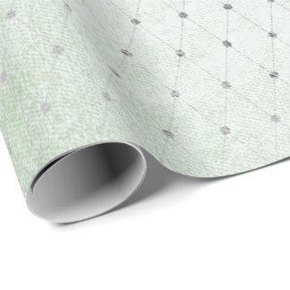 Mint Green Silver Dots Net Delicate Diamond Cut