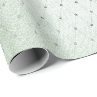 Mint Green Silver Dots Net Delicate Diamond Cut Wrapping Paper