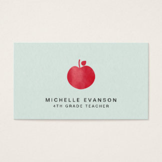 Mint Green Simple Red Apple Elegant Teacher Business Card