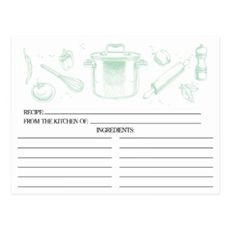 Mint Green Sketched Kitchen Tools Recipe Cards
