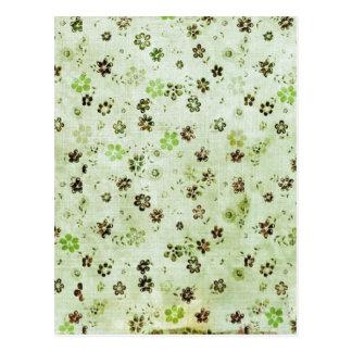 Mint Green Small Black Flowers Pattern Aged Paper Postcard