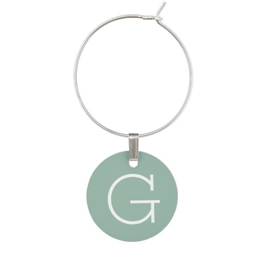 Mint Green Solid Colour with Custom Monogram Wine Glass Charms