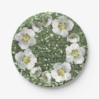 Mint Green Sparkly Floral Wreath Wedding Glitter Paper Plate