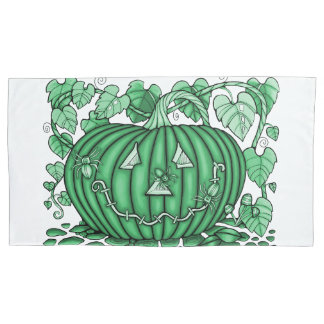 Mint-Green Spidery Pumpkin Pillowcase