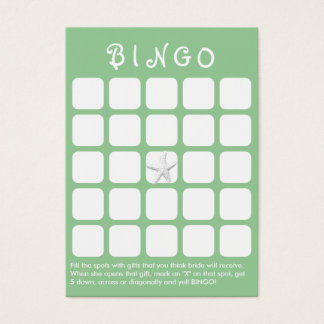 Mint Green Star Fish 5x5 Bridal Shower Bingo Card