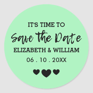 Mint Green Sticker | Heart Save the Date Wedding