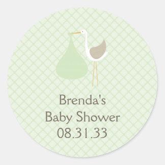 Mint Green Stork Baby Shower Sticker