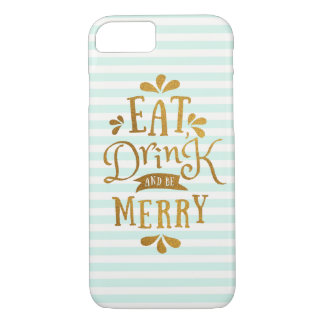 Mint Green Stripes and Gold Foil Text Design iPhone 7 Case