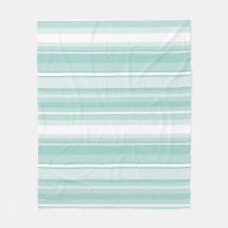 Mint green stripes fleece blanket