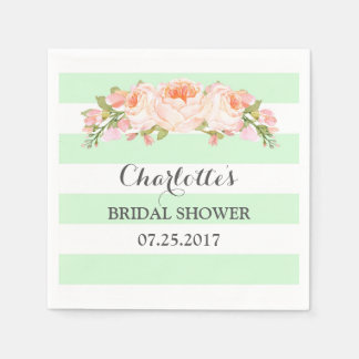 Mint Green Stripes Floral Bridal Shower Napkin Paper Napkins