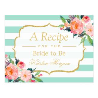 Mint Green Stripes Floral Bridal Shower Recipe Postcard