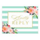 Mint Green Stripes Floral Gold Wedding RSVP Postcard