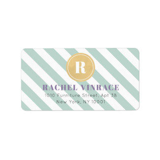 Mint Green Stripes Gold Monogram Address Label