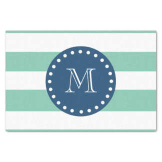 Mint Green Stripes Pattern, Navy Blue Monogram Tissue Paper