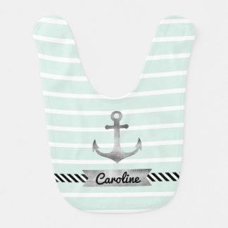 Mint Green Stripes Watercolor Anchor Custom Baby Bibs