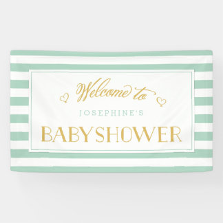 Mint Green Stripes with Gold Mom to Be | Baby Show Banner