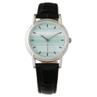 Mint green stripes wrist watch