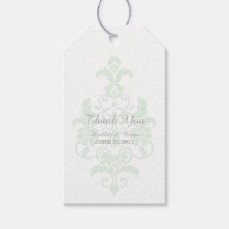 Mint Green Subtle Damask Wedding Gift Tags