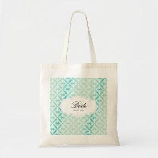 Mint Green & Teal Damask Bride Tote Bag