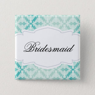 Mint Green & Teal Damask Bridesmaid 2 Inch Square Button