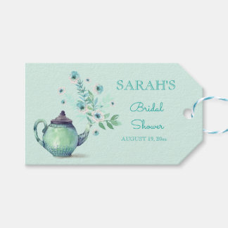 Mint Green Teapot Watercolor Flowers Gift Tags