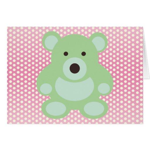 Mint Green Teddy Bear Cards