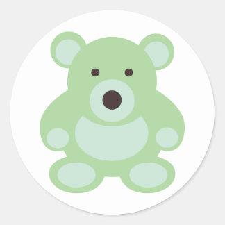 Mint Green Teddy Bear Round Sticker