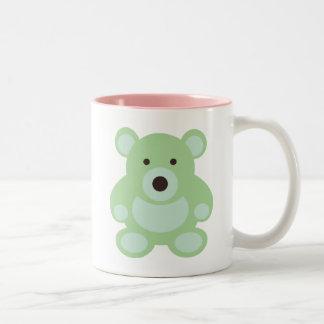 Mint Green Teddy Bear Two-Tone Coffee Mug