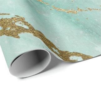 Mint Green Tiffany Aqua Gold Marble Shiny Glam Wrapping Paper
