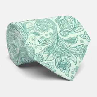 Mint-Green Tones Vintage Ornate Paisley Tie