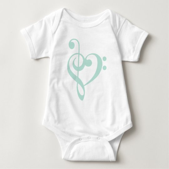 Mint Green Treble Clef & Bass Clef Heart Baby Bodysuit