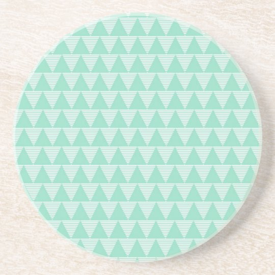 Mint green triangle pattern and white stripes coaster