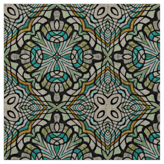 Mint Green Turquoise Retro Nouveau Deco Pattern Fabric