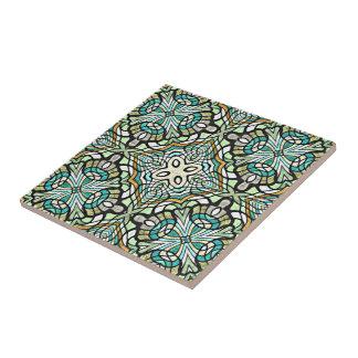 Mint Green Turquoise Retro Nouveau Deco Pattern Tile