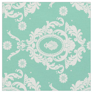 Mint Green Vintage Floral Damask Pattern Fabric