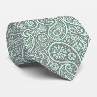 Mint-Green Vintage Paisley Custom Gray Background Tie