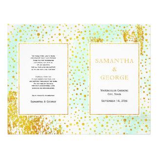 Mint green watercolor and confetti wedding program