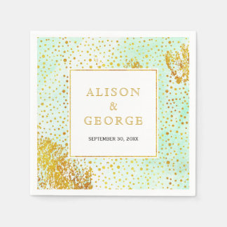 Mint green watercolor and gold confetti wedding paper napkin