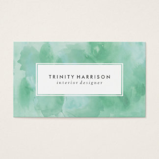 Mint Green Watercolor | Chic Modern Business Card