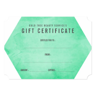 Mint Green Watercolor Modern Gift Certificate Card