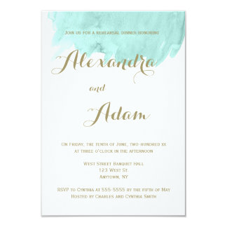 Mint green watercolor rehearsal dinner invitations