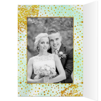 Mint green watercolor wedding Thank You photo Card