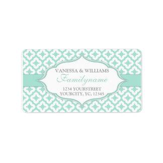 Mint green wedding custom address labels