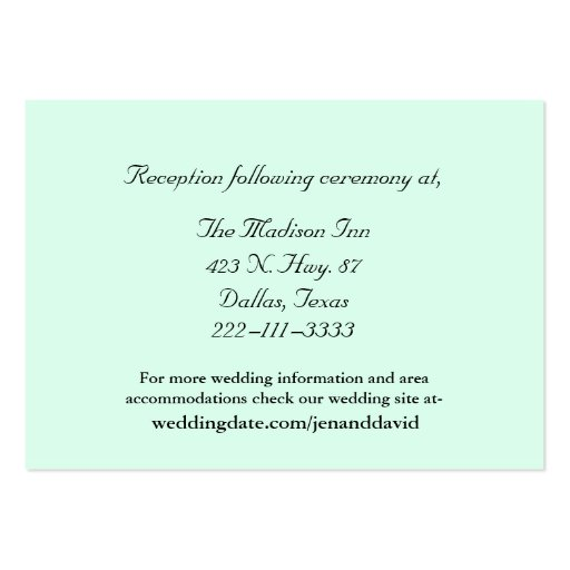 Mint Green Wedding enclosure cards Business Card