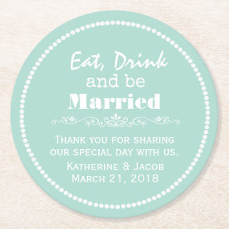 Mint Green Wedding Thank You Favor Paper Coaster