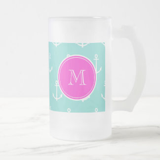 Mint Green White Anchors, Hot Pink Monogram 16 Oz Frosted Glass Beer Mug