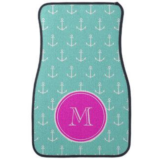 Mint Green White Anchors, Hot Pink Monogram Car Carpet