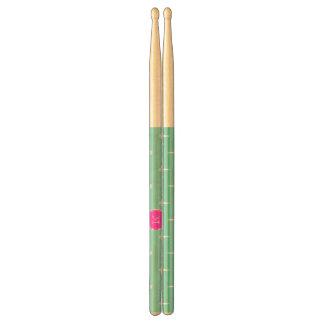 Mint Green White Anchors, Hot Pink Monogram Drum Sticks