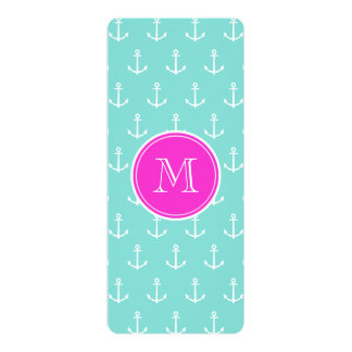 "Mint Green White Anchors, Hot Pink Monogram 4"" X 9.25"" Invitation Card"