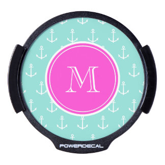 Mint Green White Anchors, Hot Pink Monogram LED Auto Decal